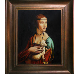 "overstockArt.com - Da Vinci - Lady With an Ermine with Da Vinci - Aged Auburn Finish - 20"" X 24"" Oil Painting On Canvas The Lady with an Ermine was created back in 1485 painted by Leonardo da Vinci. The woman is Cecilia Gallerani, mistress to Lodovico Sforza, Duke of Milan. This is only one of only three female portraits Leonardo painted. As in many of Leonardo's portraits, the composition comprises a pyramidic spiral and the sitter is caught in the motion of turning to her left, reflecting Leonardo's life-long preoccupation with the dynamics of movement. This oil painting is a beautiful example of his portraiture and will make admirers of your friends and family. Leonardo da Vinci is one of the greatest painters of the Renaissance period. He painted with such talent and passion that he ignited with his brush a passion for knowledge and advancement in the world. His artistic genius was not only limited to paintings and sculpture, he had advanced theories in many disciplines including anatomy, mechanics, mathematics and optics. He was a true master of life and art. Frame Description: Victorian Gold Frame - Gold Finish Framed painting size (not including frame): Classic 20"" X 24"" . Framed Oil reproduction of an original painting by Leonardo Da Vinci"