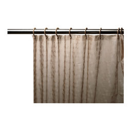 Brown Embossed PEVA Shower Curtain with Built-in Hooks - Embossed 5 Gauge Peva Shower Curtain with Built in Shower Curtain Hooks in Brown?mold & mildew resistant and Chlorine & Odor Free. Our Embossed PEVA Shower Curtain with Built in Hooks is a fun, clean addition to any bathroom--dorm bathrooms especially. Made of druable, heavy weight (5 gauge) PEVA material, this curtain lacks both PVC and the Chlorine that tends to give vinyl curtains an unseemly chemical smell. PEVA is inherently resistant to mildew and mold, and wipes clean easily.  And speaking of easy, this curtain's built in hooks make installing or removing completely pain free. Here in Brown, this style curtain is available in a variety of fashionable colors and patterns.    Wipe clean with damp sponge with warm soapy cleaning solution