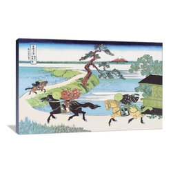 """Artsy Canvas - View Of Mount Fuji From Horseback 36"""" X 24"""" Gallery Wrapped Canvas Wall Art - View of Mount Fuji from Horseback - Katsushika Hokusai (1760 beautifully represented on 36"""" x 24"""" high-quality, gallery wrapped canvas wall art"""