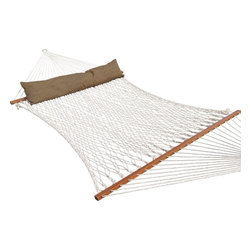 Prime Garden - Prime Garden Deluxe Cotton Rope Hammock,100% Cotton Rope, Poly Fiber Stuffing Pi - The cotton rope hammocks are 100% eco-friendly,  soft-spun for comfort,  and polyester rope hammocks are UV-resistant. Both are hand-woven with rope twisting done manually by the hammock artisans.The bed of this hammock measures nearly 7 feet in length! the thickest and most durable cord you'll find in the hammock industry. Our Island Bay rope hammock is made with 8mm rope, The extreme thickness makes the rope much hardier.