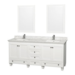 Wyndham Collection - Acclaim White Carrera Marble 72-inch Double Bathroom Vanity Set - This Acclaim bathroom vanity is from the Wyndham Collection Designer Series by Christopher Grubb. The beautiful,floating white Carrera marble counter and clean lines of the multi-storage,white-washed base are quite stunning.