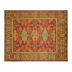 Manhattan Rugs - New Kazak Pure Hand Knotted Wool Red Veg Dyed Geometric Area Rug H655 - Kazak (Kazakh, Kasak, Gazakh, Qazax). The most used spelling today is Qazax but rug people use Kazak so I generally do as well.The areas known as Kazakstan, Chechenya and Shirvan respectively are situated north of  Iran and Afghanistan and to the east of the Caspian sea and are all new Soviet republics.   These rugs are woven by settled Armenians as well as nomadic Kurds, Georgians, Azerbaijanis and Lurs.  Many of the people of Turkoman origin fled to Pakistan when the Russians invaded Afghanistan and most of the rugs are woven close to Peshawar on the Afghan-Pakistan border.There are many design influences and consequently a large variety of motifs of various medallions, diamonds, latch-hooked zig-zags and other geometric shapes.  However, it is the wonderful colours used with rich reds, blues, yellows and greens which make them stand out from other rugs.  The ability of the Caucasian weaver to use dramatic colours and patterns is unequalled in the rug weaving world.  Very hard-wearing rugs as well as being very collectable