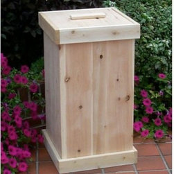Tidewater Workshop 30-Gallon Cedar Refuse & Recycle Bin - We are firm believers in spending more time outdoors. Whether you choose to spend your outdoor time on your deck, patio or in your garden, one of the elements almost always overlooked is how to handle waste or recyclables. Our Refuse and Recycle Bin is not only functional, but also very elegantly designed with soaring vertical cedar panels, framed by balanced top and bottom trim. The nesting lid fits flush into the top of the can and the top frame piece removes for bag insertion, and then replaces to hold the bag snug in place. Most kitchen-sized tall trash bags will fit comfortably. Unmistakably more attractive and weatherproof than faux-stainless or plastic alternatives, our Refuse and Recycle Bin also arrives fully assembled and ready to use.About Tidewater WorkshopTidewater Workshop began in New Jersey as Modern Boat Works in 1905. For most of the 20th century, four generations of the Adams family operated the company, designing and building cedar-hulled skiffs, sport fishing boats and yachts, and other custom boats. As boat business demand lessened in the 1980s, the company turned its attention to high-quality gardening and wood outdoor furnishings. With more than a centurys worth of cedar wood craftsmanship under its belt, Tidewater Workshop is now an internationally best-selling marketer and manufacturer of white cedar outdoor furnishings. The company uses fast-growing and renewable white cedar, creates virtually no waste with its milling and construction processes, and recycles all unused wood into mulch and other products. Thanks to care in its craft and durable, decay- and insect-resistant cedar, Tidewater workshop delivers fine casual furnishings that stand the test of time.