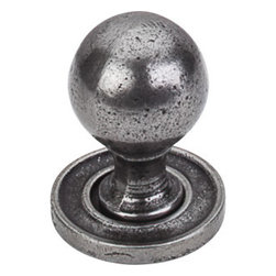 """Top Knobs - Paris Knob Smooth 1 1/4"""" w/ Backplate - Cast Iron - , Width - 1 1/4"""", Projection - 1 5/8"""", Base Diameter - 11/16"""""""