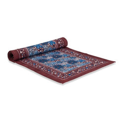 "Candy Flower Runner, Blue/Brown, 16""x72"""