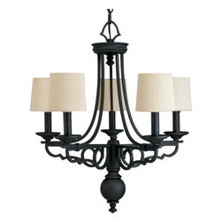Thomasville Lighting - Thomasville Lighting P4566-80 Meeting Street 5 Light 1 Tier Chandelier - Thomasville Lighting P4566-80 Five Light Meeting Street Single Tier ChandelierFor those questing for the perfect Old World crafted iron look, this five light single tier chandelier will make the perfect choice. Featuring graceful scrolled metalwork with Ecru Linen Pleated Fabric shades and decorative finials, there is no better choice for your lighting needs.With a Forged Black or Roasted Java finish, the Meeting Street collection features antique opal swirl art glass.Thomasville Lighting P4566-80 Features: