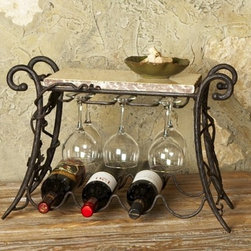 Wrought Iron Wine and Glasses Rack - 4 Bottle