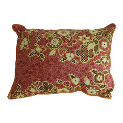 Garden Candy - Orange Cotton Pillow - Garden Candy's reversible Sarong Patterned Pillow adds that extra bit of comfort to any indoor or outdoor chair. It is a must have companion to our Sarong Patterned Seat Cushions.