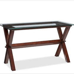 "Ava Desk - I'm nuts for any sort of trestle table, and especially one with the simple ""X"" structured legs. This one has a glass top that keeps it contemporary.Crafted from solid spruce with a tempered-glass top.Finished by hand in our exclusive espresso stain. 52"" wide x 28"" deep x 30"" high"