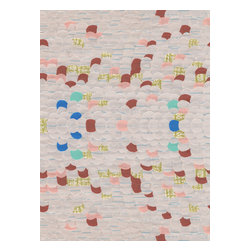 Domestic Construction - Seashore Floor Mat, Small - This collage of color mixes in lined notebook paper that everyone remembers from school to make an artful floor mat. It's a photographic reproduction of an original creation, and the machine-washable fabric means it's safe to use every day! Tuck this low-profile mat at your front door for stylish function and form.