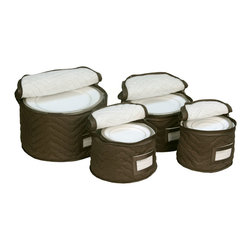 None - Brown Quilted China Plate 4-piece Storage Case Set - Protect your fine china from chips and breaks with this set of four quilted china storage cases. The set includes protectors for four different sized plates each case uses cushioned dividers to keep dishes from banging together and getting chipped.