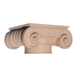 "Inviting Home - Arlington Capital - maple wood - wood capital in hard maple 11-3/4""W x 9-5/8""D x 5-3/4""H bottom: 6"" diameter Wood capitals are hand carved in deep relief design from premium selected North American hardwoods such as alder beech cherry hard maple red oak and white oak. They are triple sanded and ready to accept stain or paint. Hardwood capitals are a great way to enhance any pilaster or column."