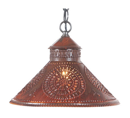 Irvin's Tinware - Stockbridge Shade Light with Chisel Design, Rustic Tin - Designed to be smaller in size so that it can be used above a sink or in pairs above a kitchen island. Finished with a fine crimping on the edges and a rustic punched chisel design.