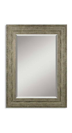 Uttermost - Hallmar Wood Mirror - When talking about wood furniture, 'distressed' is an appealing term, not a reason to do yoga or breathe deeply. This 'lightly' distressed silver leaf, wood mirror has a traditional look with a snazzy afterglow. You'll be anything but distressed to display it in your casually classy home.