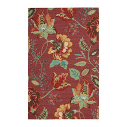 """Nourison - Nourison Vista VIS51 2'6"""" x 4' Brick Area Rug 13802 - An oversized floral design is a perennial favorite that slips easily into any aesthetic when it blooms in vibrant hues of jade, rose, blue, gold, white and crimson on a beautiful brick background. Meticulous hand carving imparts an amazing tone and texture."""