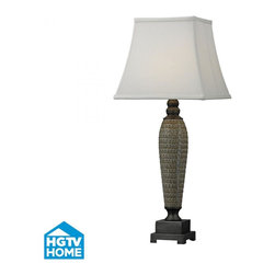 Dimond - One Light Glazed W/painted Pewter Accents Off White Cotton, Nylon Shad - One Light Glazed W/painted Pewter Accents Off White Cotton, Nylon Shad