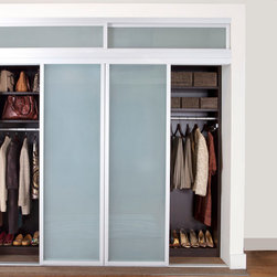 Reach-In Closet Sliding Doors - The framed glass sliding doors we offer can enclose an existing closet, divide a room or create a contemporary and hidden storage solution where there is limited space. Our aluminum sliding door frames are available with solid and wood grain finishes. The frame style and choice of glass you select are sure to give the completed design the function you need with the striking impact you want.