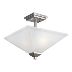 DHI-Corp - Torino 2-Light Semi Flush Ceiling Light, Satin Nickel - The Design House 514802 Torino 2-Light Semi Flush Ceiling Light is made of formed steel, snow glass and finished in satin nickel. This 2-light ceiling mount is rated for 120-volts and uses (2) 60-watt medium base incandescent bulbs. As one of the most popular styles of light fixtures, ceiling mounts are suited for any room in the house as they hang close to the ceiling with a classic half-moon shape. Measuring 12-inches (H) by 13-inches (W), this 5.5-pound fixture's petite design is suited for low ceilings and small rooms. Squared details accentuate the snow glass to create a sleek centerpiece in a kitchen, dining room or hallway. This product is UL and CUL listed. The Torino collection features a beautiful matching vanity light, wall sconce and mini pendant. The Design House 514802 Torino 2-Light Semi Flush Ceiling Light comes with a 10-year limited warranty that protects against defects in materials and workmanship. Design House offers products in multiple home decor categories including lighting, ceiling fans, hardware and plumbing products. With years of hands-on experience, Design House understands every aspect of the home decor industry, and devotes itself to providing quality products across the home decor spectrum. Providing value to their customers, Design House uses industry leading merchandising solutions and innovative programs. Design House is committed to providing high quality products for your home improvement projects.