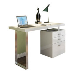 J&M Furniture - A18 Modern Office Desk in High Gloss White - Available in white high gloss finish with chrome legs, the A18 modern desk by M Furniture will ideally suit to any modern home / office. Along with the minimalistic design, the desk offers an optimal combination of stylish appearance with storage options.    Features: