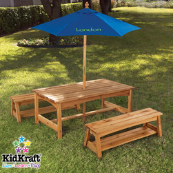 KidKraft - Personalized Kids' 3 Piece Table and Bench Set - Dining outside and having fun in the sun is what summer is all about. And now, kids can have picnics outside just like grown - ups with the new Rectangle Table Set. KidKraft's Rectangle Table Set with Two Benches & Blue Umbrella is the perfect place for art projects, lunch or reading on a gorgeous day. Features: -One rectangle table.-Two wooden benches with storage.-One blue umbrella helps shield children from UV lights.-Made of weather-resistant wood.-Can personalize umbrella.-Limit 10 characters- letters A-Z only.-Collection: Personalized.-Distressed: No.Dimensions: -Table Dimensions: 19'' H x 20'' W x 42.07'' L.-Bench Dimensions: 11'' H x 8.5'' W x 35.9'' L.-Umbrella Dimensions: 59.4'' H.-Overall Product Weight: 61 lbs.