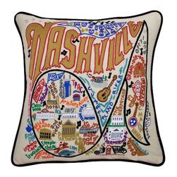 "CATSTUDIO - Nashville Pillow by Catstudio - These pillows from Catstudio's Geography Collection are delightful keepsakes for remembering the hometown you grew up in or commemorating your favorite vacation spot. Embroidered entirely by hand (over 35 hours go into each one!) with black velvet piping, these make the perfect gift for all occasions! Removable cotton cover and polyfill pillow form. Cover is dry clean only. 19"" square and very plush!"