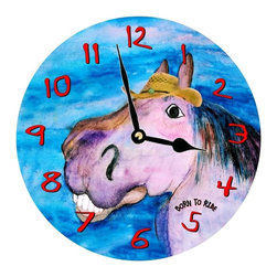 USA - Born to Ride wall clock - Enjoy passing time with my dye sublimated art work on a beautiful 11.25'' hard board clock with a wonderful glossy finish. Clocks are a durable 1/4 '' thick and require a AA battery not included. Made in the USA