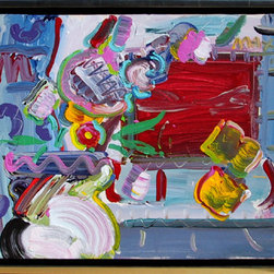 Peter Max, Flower Pot and Window, Painting - Artist:  Peter Max, German/American (1937 - )