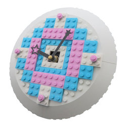 MR Brick Designer - LEGO Girls Clock - This girls LEGO Clock was made just for a little girls room and makes a fun addition to any girls bedroom or nursery!
