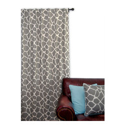 ez living home - EZ Living Home Giraffe Window Panel 84L Grey on Cream - *Eye-catching yet subtle giraffe pattern; EZ to decorate with; Complements existing room decoration.