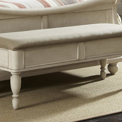 None - Liberty Rustic White Traditions Lift Top Bench - Perfect for extra stroage,this Liberty Rustic White Traditions lift top bench is constructed with poplar solids capped with birch veneers. This bench features French and English dovetail construction,taupe upholstery and classic Luis Philippe styling.