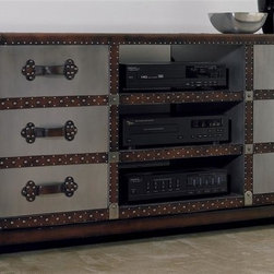 Hooker Furniture - 60 in. Bondurant Entertainment Console - Six drawers. Three media storage shelves. Nail head trim. 60.5 in. W x 20.25 in. D x 28.25 in. H