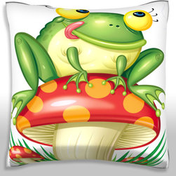 Custom Photo Factory - Toad Sitting on Mushroom Licking Lips Pillow.  Polyester Velour Throw Pillow - Toad Sitting on Mushroom Licking Lips Pillow. 18 Inches x 18  Inches.  Made in Los Angeles, CA, Set includes: One (1) pillow. Pattern: Full color dye sublimation art print. Cover closure: Concealed zipper. Cover materials: 100-percent polyester velour. Fill materials: Non-allergenic 100-percent polyester. Pillow shape: Square. Dimensions: 18.45 inches wide x 18.45 inches long. Care instructions: Machine washable