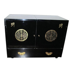 Chinese Bar circa 1950s in Black Lacquer - $2,000 Est. Retail - $1,055 on Chairi -