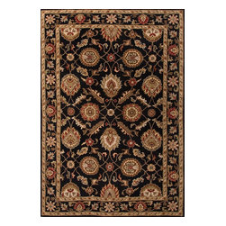Jaipur Rugs - Hand-Tufted Oriental Pattern Wool Black/Red Area Rug (2 x 3) - Sublime hues and graceful lines accentuate the traditional pattern motifs in Mythos, an elegant and value-driven range of durable, hand-tufted area rugs. This sophisticated collection is for the discriminating consumer with a passion for traditional design, at prices that answer every budget. The Mythos Collection is tradition, redefined.