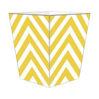 """Marye Kelley - Marye Kelley Yellow Chevron Decoupage Wastebasket with Optional Tissue Box, 11"""" - This is a handmade decoupage wastebasket with optional tissue box.  All items are handmade in the USA.  There are three different styles available.  There is the 12"""" Fluted Tin Design, the 11"""" Square Design with a flat top or the 11"""" Square design with a scalloped top.  Coordinating tissue boxes may also be made. Please note all items are custom made and may not be returned."""