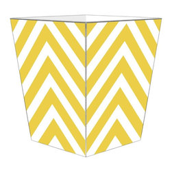 "Marye Kelley - Marye Kelley Yellow Chevron Decoupage Wastebasket with Optional Tissue Box, 11"" - This is a handmade decoupage wastebasket with optional tissue box.  All items are handmade in the USA.  There are three different styles available.  There is the 12"" Fluted Tin Design, the 11"" Square Design with a flat top or the 11"" Square design with a scalloped top.  Coordinating tissue boxes may also be made. Please note all items are custom made and may not be returned."