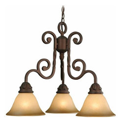 """Volume Lighting - Volume Lighting V5813 Isabela 3 Light 19.5"""" Height 1 Tier Chandelier - Three Light 19.5"""" Height 1 Tier Chandelier with Sandstone Glass Shade from the Isabela CollectionCharming and classy, this 3 light chandelier features 1 tier and lovely sandstone glass.Features:"""