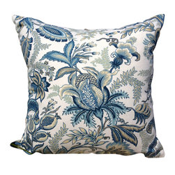 PillowFever - Blue and White Cotton Pillow - Pillow insert is not included!