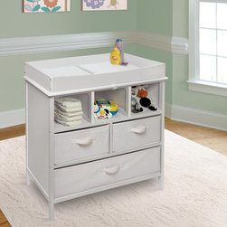 Badger Basket - Badger Basket Estate Baby Changing Table - 26001 - Shop for Changing Tables from Hayneedle.com! Who knew you could get so much functionality from a piece of furniture designed for changing diapers? The Badger Basket Estate Baby Changing Table is sturdily constructed o f wood MDF and laminated MDF this changing table features a non-toxic painted finish in a choice of colors with laminated shelves and side panels. The back and side panels are solidly constructed to keep your items contained. Up top you'll find a changing area with four sides for added safety. You can remove these safety rails later once baby has exceeded the 30 lb. weight limit so you can continue using the piece as a chest for toys or clothes. In addition to three open storage cubbies this changing table includes 3 baskets to keep certain items hidden from view. Each canvas basket (80% polyester/20% cotton) is fully removable foldable and have handles on the front. The large basket has a divider panel in the center. An included changing pad is made of polyurethane foam covered with wipe-clean PEVA (non-PVC) vinyl. This product meets all current safety and testing standards.Product DimensionsChanging table: 33.75L x 19.75W x 37.375H in.As chest (changing top removed): 33.75L x 19W x 33.5H in.Weight: 52.8 lbs.Changing table weight capacity: 30 lbs.Changing area: 31.125L x 17.75W x 4H in.Height of legs: 4.25 in.Large basket: 30.5W x 17.5D x 8H in.Large cubbie: 30.75W x 18D x 8.5H in.Medium basket: 15W x 17.5D x 8H in.Medium cubbie: 15W x 18D x 8.5H in.Small cubbie: 9.75W x 18D x 8.5H in.Changing pad: 31.5L x 18.5W x .75H in.Badger Basket CompanyFor over 65 years Badger Basket Company has been a premier manufacturer of baskets bassinets bassinet bedding changing tables doll furniture hampers toy boxes and more for infants babies and children. Badger Basket Company creates beautiful and comfortable products that are continually updated and refreshed bringing you exciting new styles and fas