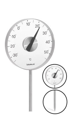 Blomus - Grado Thermometer with Ground Stake - Fahrenheit - By the numbers: This thermometer with ground stake tells you the temperature in Celsius or Fahrenheit wherever you plant it. You're sure to find a location that mitigates the notation of winter's chill and summer's heat.