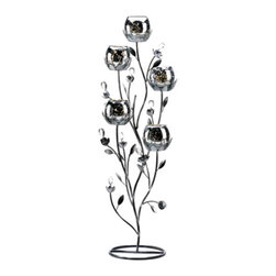 "Koehler Home Decor - Koehler Home Decor Silver Tulip Tree Candelabra - Winter fire glows from every surface of this silvery candle stand, as a quintet of tulip blooms fills the room with light. This elegant candle stand adds instant drama to even the simplest surroundings. Weight 2.5 lbs. 12""x 10""x 27"" tall."