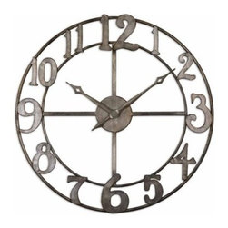 Delevan Metal 32.25-in. Wall Clock - Antique elegance with a touch of fun the Delevan Metal 32.25-in. Wall Clock has an antiqued silver leaf finish on its hand-forged metal frame. Big whimsical numbers are outlined with burnished edges and this clock's open design makes it really stand out against a white or light-colored wall. It has a quartz movement and runs on one AA battery (not included).About Uttermost:The mission of the Uttermost Company is simple: to make great home accessories at reasonable prices. This has been their objective since founding their family-owned business over 30 years ago. Uttermost manufactures mirrors art metal wall art lamps accessories clocks and lighting fixtures in its Rocky Mount Virginia factories. They provide quality furnishings throughout the world from their state-of-the-art distribution center located on the West Coast of the United States.