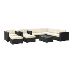 Avia Outdoor Wicker Patio 10 Piece Sectional Sofa Set in Espresso with White Cus