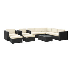 LexMod - Avia Outdoor Wicker Patio 10 Piece Sectional Sofa Set in Espresso with White Cus - Surround yourself with a modern landing pad of exploration. Positioned to advance your outdoor patio, backyard, or pool area, Avia helps you bestow acceleration to your outward achievements and social celebrations.