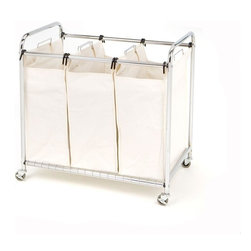 Seville Classics - Seville Classics Hampers & Carts 3-Bag Laundry Sorter SHE16166 - Shop for Storage & Organization at The Home Depot. The Seville Classics Heavy Duty 3-Bag Laundry Sorter will keep your colors whites and delicates separate. Each canvas bag features a drawstring closure and can hold a load of laundry. A wire grid tray system on the bottom shelf supports the bags and it all sits on a sturdy chrome wire frame. This unit also moves easily with wheels that lock in place when you need it to stay put.