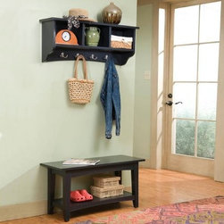 Alaterra Shaker Cottage Bench and Coat Rack Set - Additional featuresCoat rack dimensions: 36L x 9W x 14H inches Bench dimensions: 36L x 14W x 18H inches A stylish and easy way to keep entry ways neat and organized the Alaterra Solid Wood Shaker Cottage Bench and Coat Rack Set ensures hats coats and whatnots go where they should. Three cubbies in the overhead coat rack store gloves hats and small handbags; while four double coat hooks are perfect for hanging coats and jackets. A shelf under the simple bench offers additional storage. This bench is a versatile piece in itself. Try it out as a coffee table or a foyer console table. With clean lines and a simple design reminiscent of Shaker and Cottage styles this 2-piece set is available in a variety of finishes to suit your home's decor. About BoltonBolton Furniture is proud to offer consumers quality wood pieces at affordable prices and has done so since the 1900s. Each piece is carefully crafted from the beginning stages of kiln drying to the packaging of the finished product. Having specialized in the detailed wood-craftsmanship of musical instruments Bolton Furniture perfected woodworking in the 1970s. This means that their furniture pieces are created with extreme attention to detail and superior precision. Bolton Furniture's reputation is built on its products - durable lasting and beautiful.