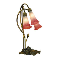 Meyda Tiffany - Meyda Tiffany 14813 Stained Glass / Tiffany Desk Lamp Lilies Collection - 3 Light Lily Pink/WhiteOne Of The Most Popular Louis Comfort Tiffany Styled Lamps On The Market Today, Recreating His Famous Favorite Design From The Early 1900's3 15w max Candelabra Base Bulbs (Not Included)