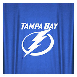 Sports Coverage - NHL Tampa Bay Lightning Hockey Locker Room Shower Curtain - Features: