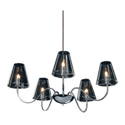 ET2 Lighting - Chic 5-Light Chandelier - Bring your excellent taste to light with this shimmering chandelier. With soft, candle-inspired bulbs, shapely clear glass shades and gracefully curved chrome arms, it's a classically elegant piece that radiates chic modern style.