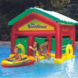 Heritage - Boathouse Swimming Pool Floating Habitat - Complete with inflatable boat, buoy rings and removable roof raft.